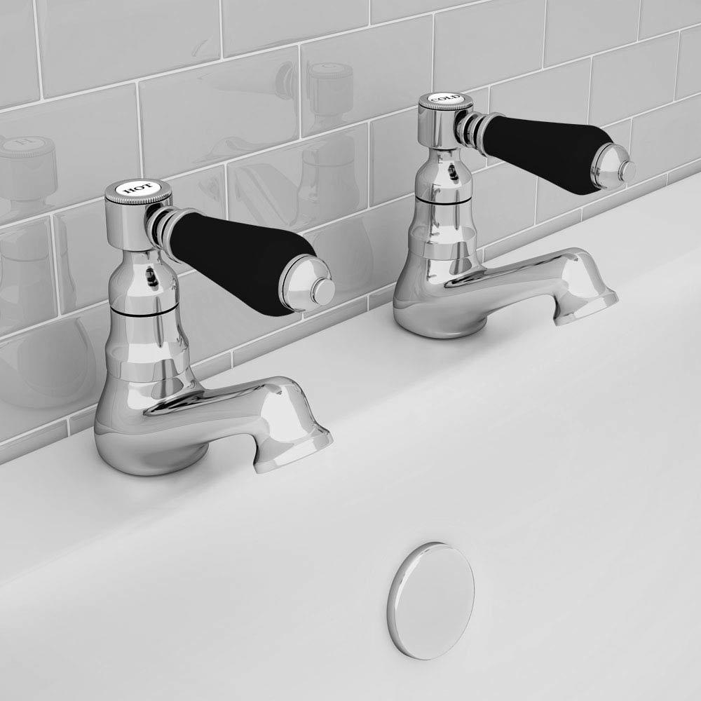 Lancaster Black Traditional Bath Taps profile large image view 2