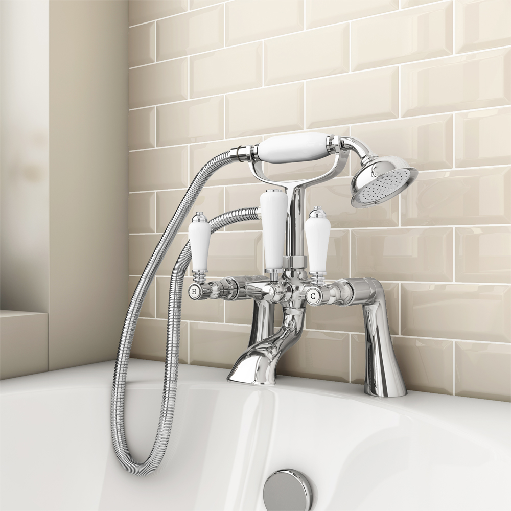Lancaster Traditional Bath Shower Mixer Tap With Shower Kit | 8 Beautiful Bathroom Taps Ideas