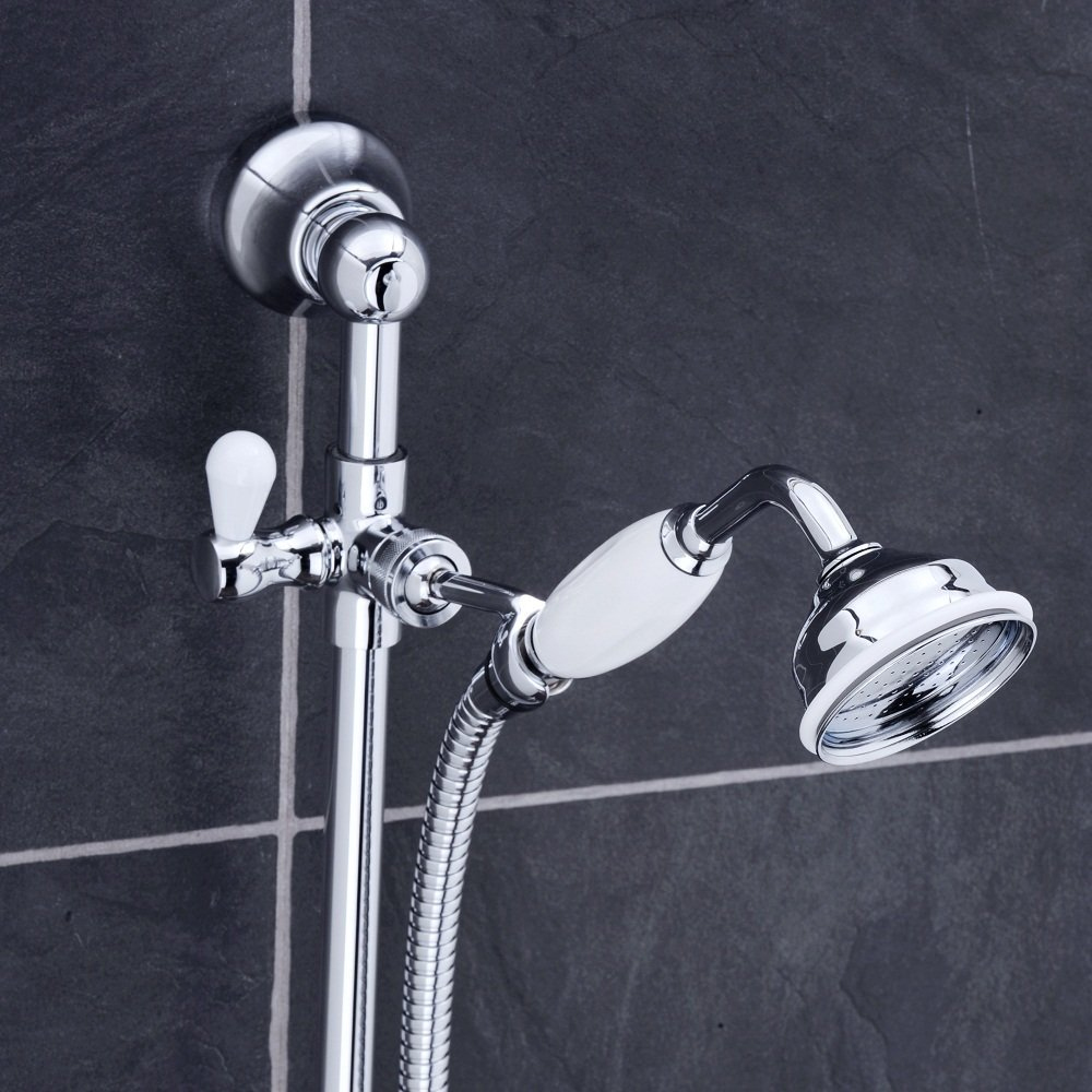 Lancaster Traditional Bath Shower Mixer with Slider Rail Kit - Chrome Profile Large Image