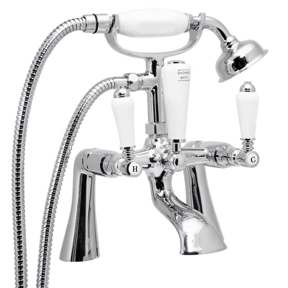 Lancaster Traditional Bath Shower Mixer with Slider Rail Kit - Chrome Feature Large Image