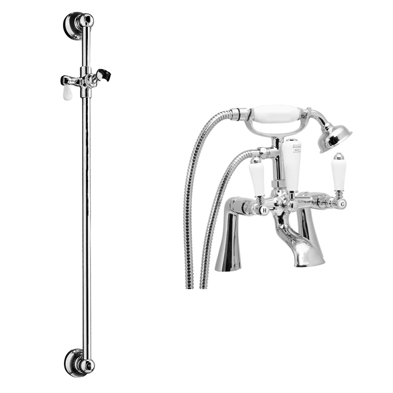 Lancaster Traditional Bath Shower Mixer with Slider Rail Kit - Chrome Large Image