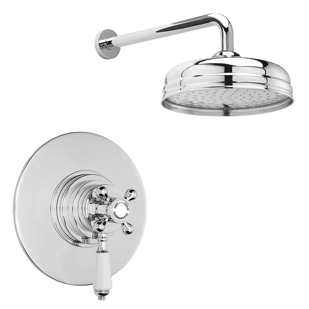 "Lancaster Traditional Dual Concealed Thermostatic Shower Valve + Wall Mounted 8"" Rose profile large image view 1"