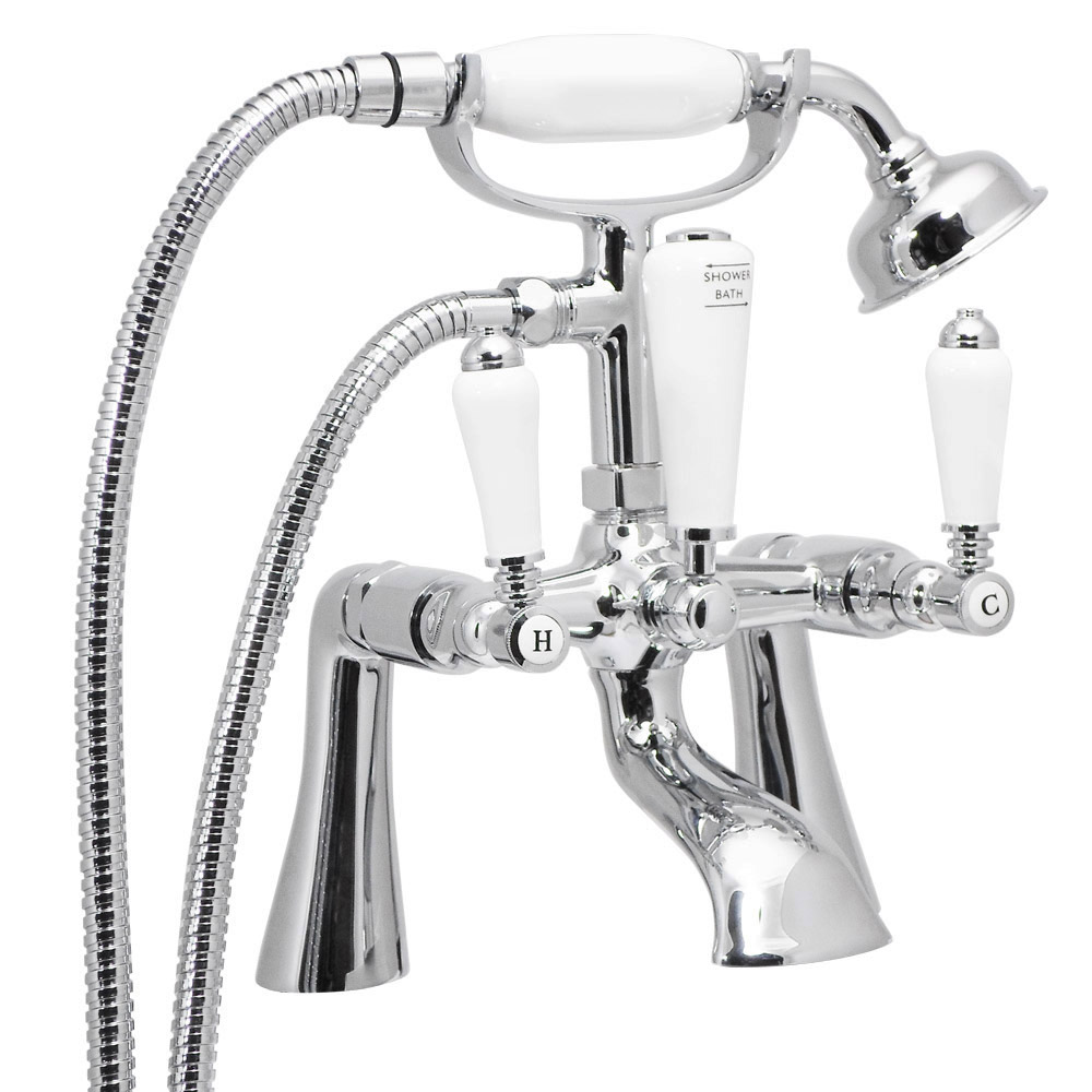 Lancaster Traditional Freestanding Chrome Bath Shower Mixer & Shower Kit Profile Large Image