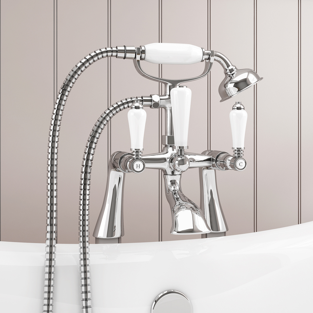 Lancaster Traditional Freestanding Chrome Bath Shower Mixer & Shower Kit Feature Large Image