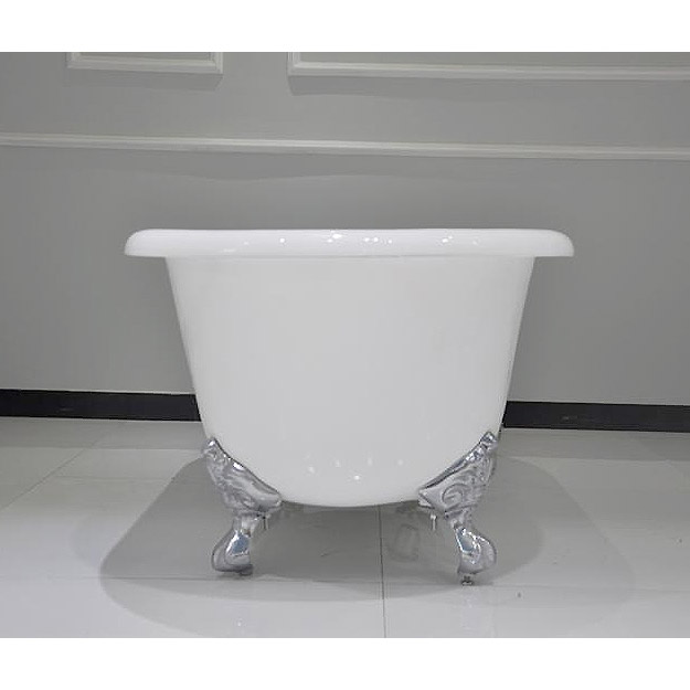 Landon 1680 x 750mm Double Ended Roll Top Cast Iron Bath with Chrome Feet Profile Large Image