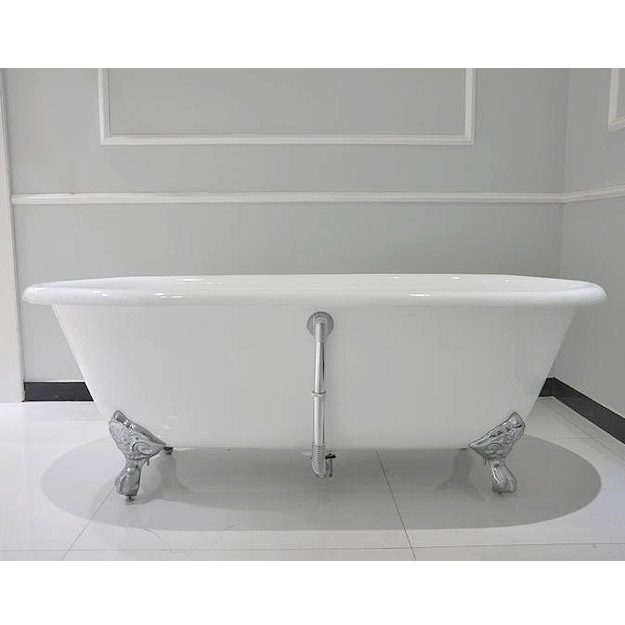 Landon 1680 x 750mm Double Ended Roll Top Cast Iron Bath with Chrome Feet Feature Large Image