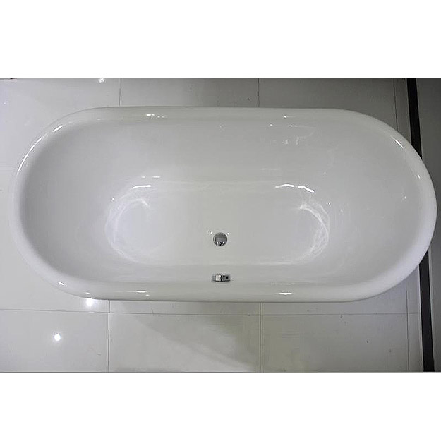 Landon 1680 x 750mm Double Ended Roll Top Cast Iron Bath with Chrome Feet Standard Large Image