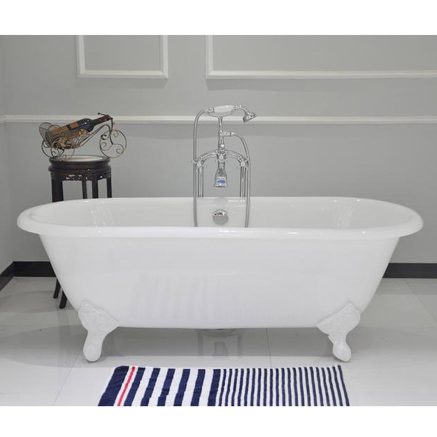 1680 x 750mm double ended roll top cast iron bath with white feet