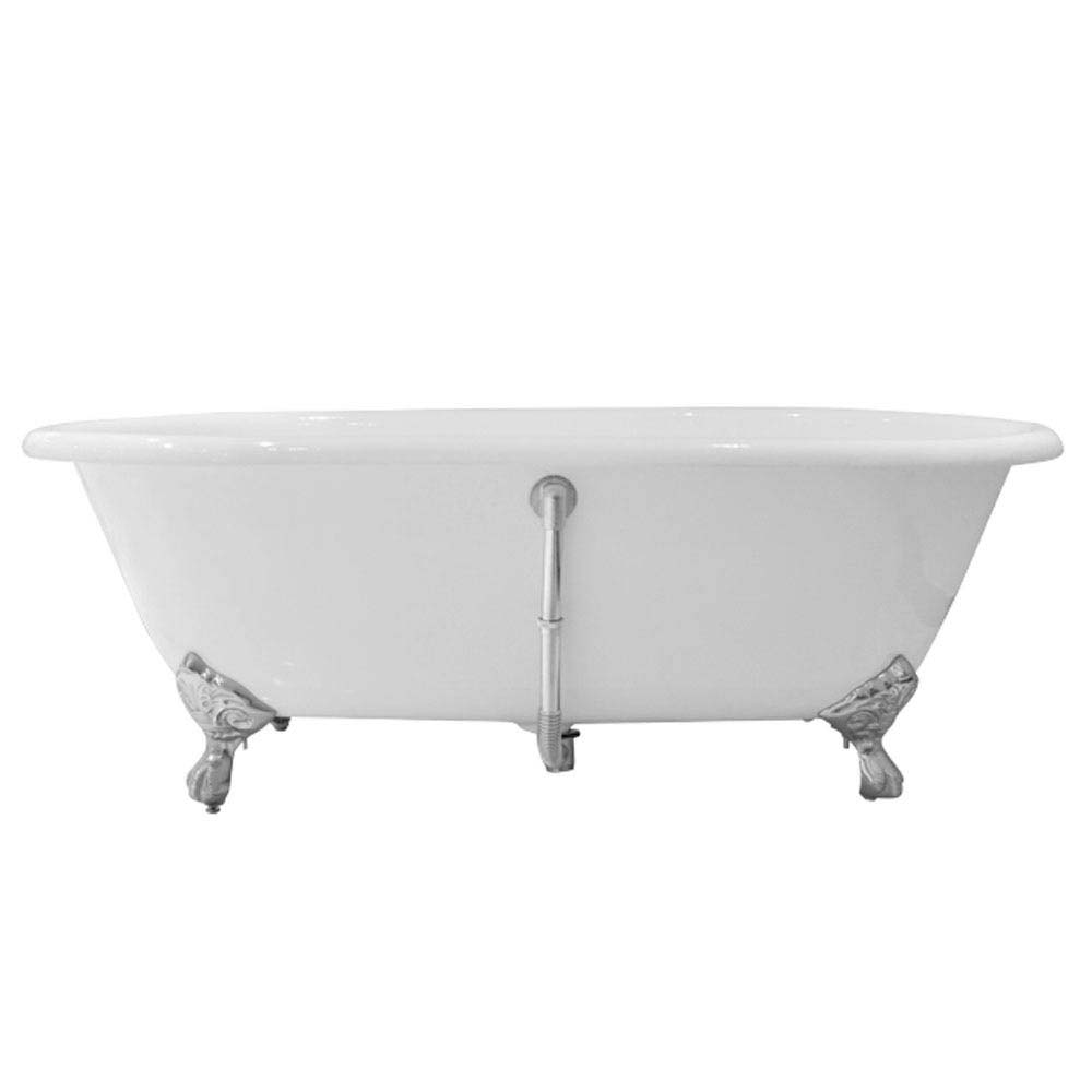 Landon 1680 x 750mm Double Ended Roll Top Cast Iron Bath with Chrome Feet profile large image view 3