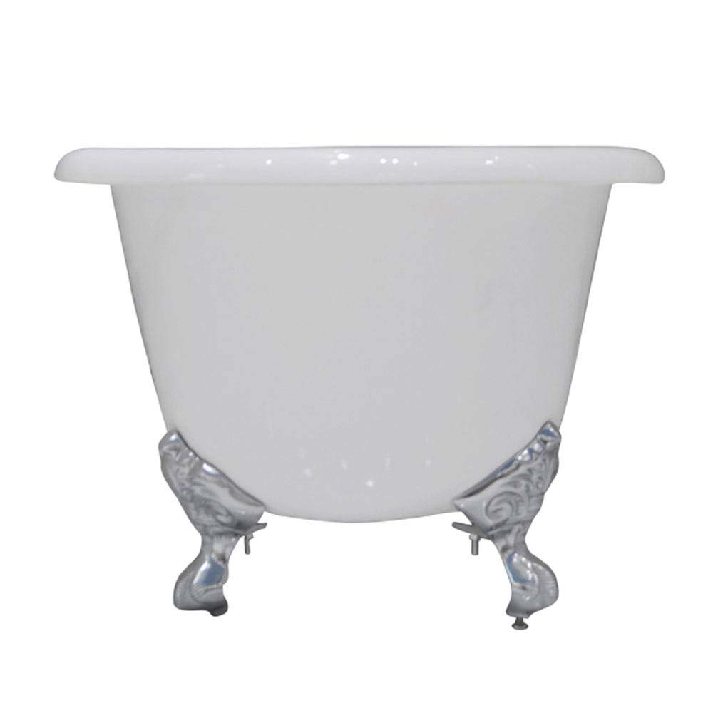 Landon 1680 x 750mm Double Ended Roll Top Cast Iron Bath with Chrome Feet profile large image view 4