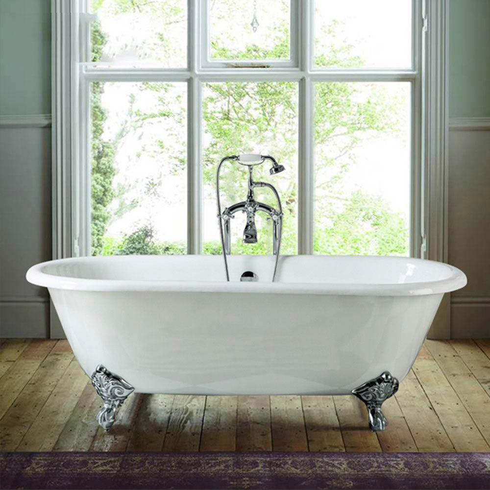 Landon 1680 x 750mm Double Ended Roll Top Cast Iron Bath with Chrome Feet Large Image