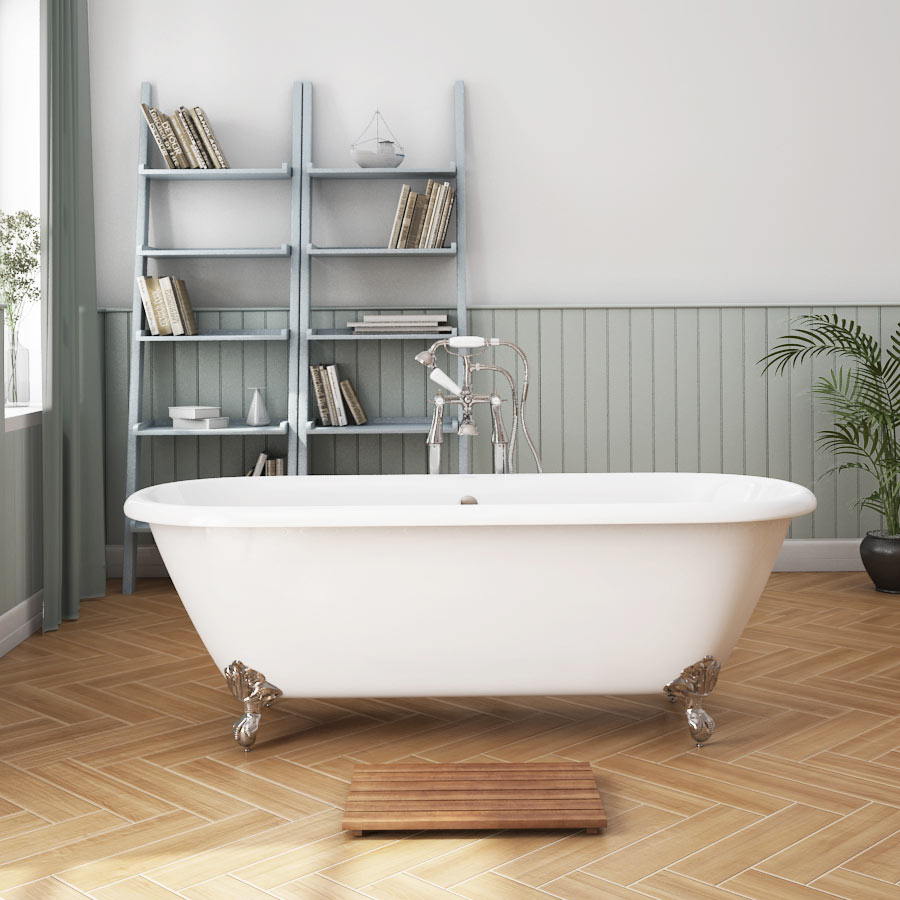 Landon 1680 x 750mm Double Ended Roll Top Cast Iron Bath with Chrome Feet profile large image view 1