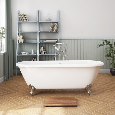 Landon 1680 x 750mm Double Ended Roll Top Cast Iron Bath with Chrome Feet