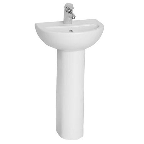 Vitra - Layton Cloakroom Basin and Pedestal - 1 Tap Hole - 2 Size Options