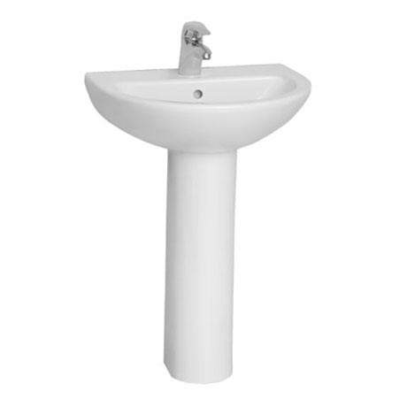 Vitra - Layton Basin and Pedestal - 2 Tap Hole - 3 Size Options