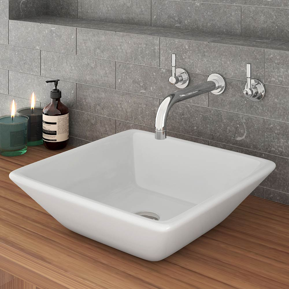 Lazio Counter Top Basin + Wall Mounted Basin Mixer Tap Large Image
