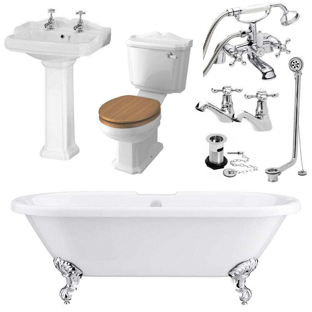Legend Traditional Roll Top Bathroom Suite (1695mm) profile large image view 3