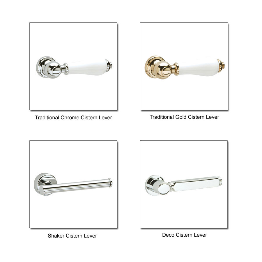 Heritage - Granley Deco Close Coupled Standard Height WC & Landscape Cistern - Various Lever Options profile large image view 2