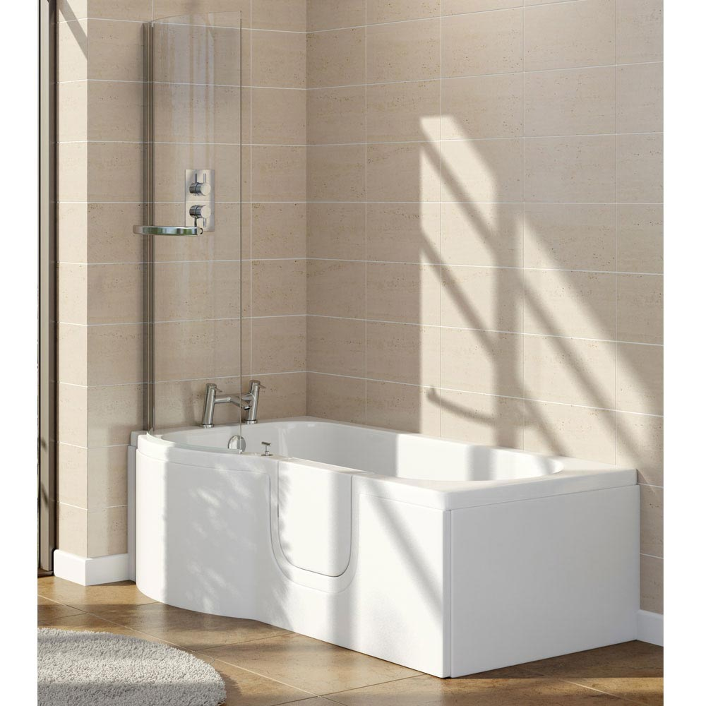 Lockwood Easy Access 1675mm P Shaped Bath Inc. Screen + Front Panel Large Image