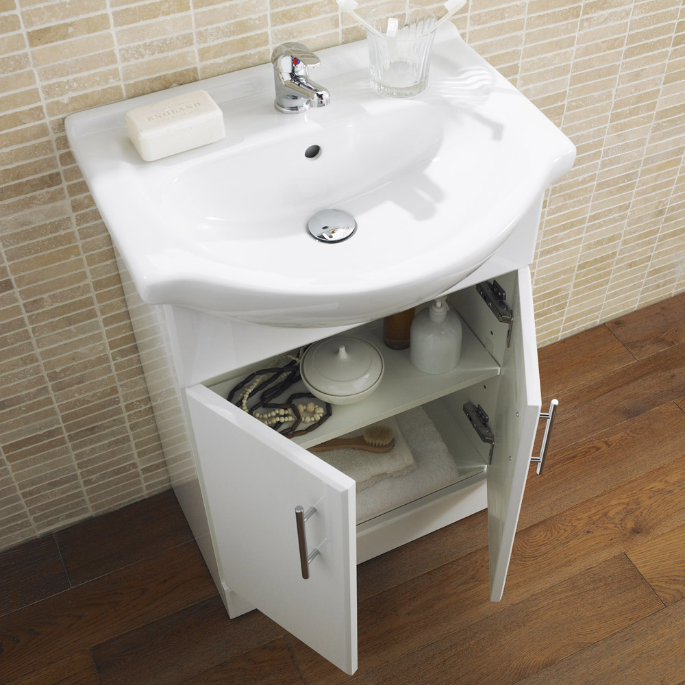 Lyon high gloss white vanity unit cloakroom suite at for White gloss bathroom vanity unit