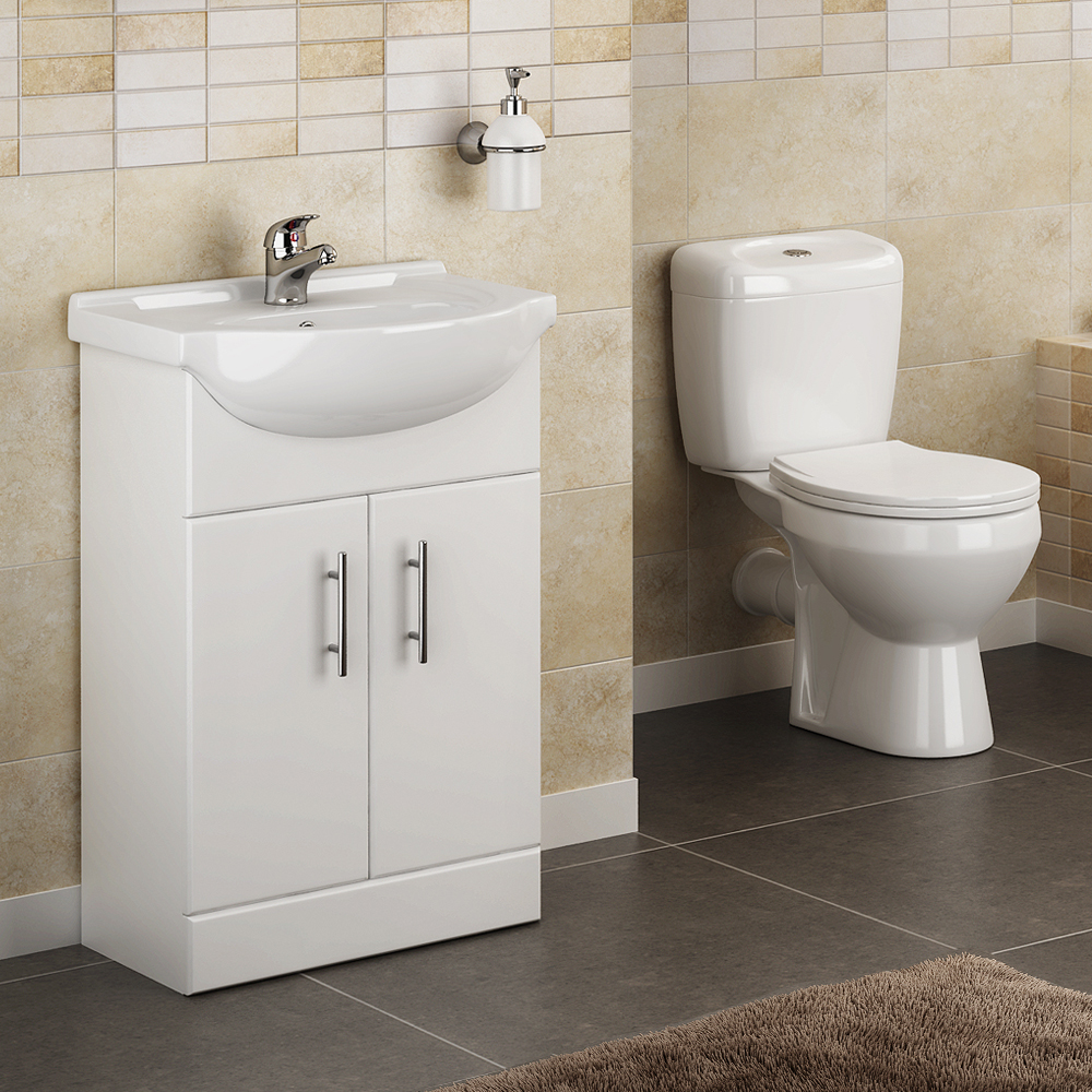 Lyon High Gloss White Vanity Unit Cloakroom Suite At