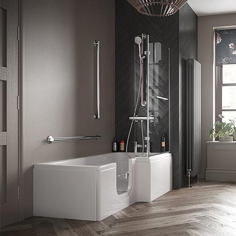 Milton Luxury Walk In 1700mm L Shaped Bath inc. Screen, Front + End Panel
