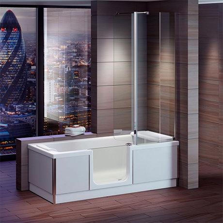 Milton Luxury Walk In 1700mm Bath inc. Screen, Fold Down Seat, Front + End Panels