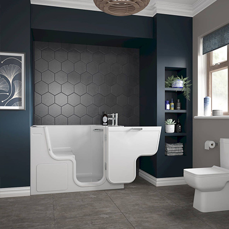 Milton Luxury Walk In 1300 x 750mm Easy Access Deep Soak Bath inc. Front + End Panels