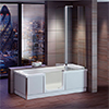 Milton Luxury Walk In 1800mm Bath inc. Screen, Fold Down Seat, Front + End Panels profile small image view 1