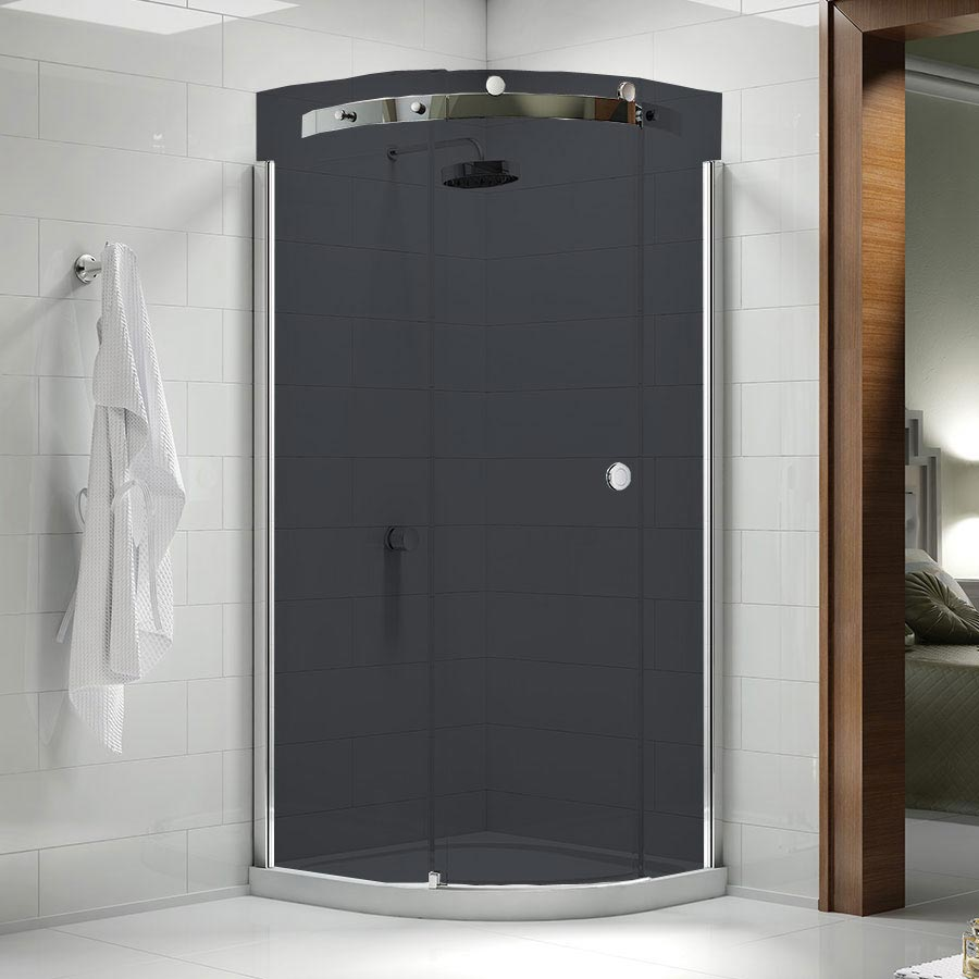 Merlyn 10 Series Smoked Black Glass 1 Door Quadrant Enclosure - (900 x 900mm - Left Hand) Large Imag