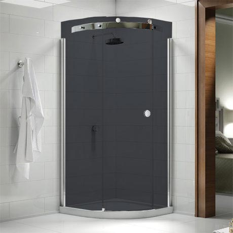 Merlyn 10 Series Smoked Black Glass 1 Door Quadrant Enclosure - (900 x 900mm - Left Hand)