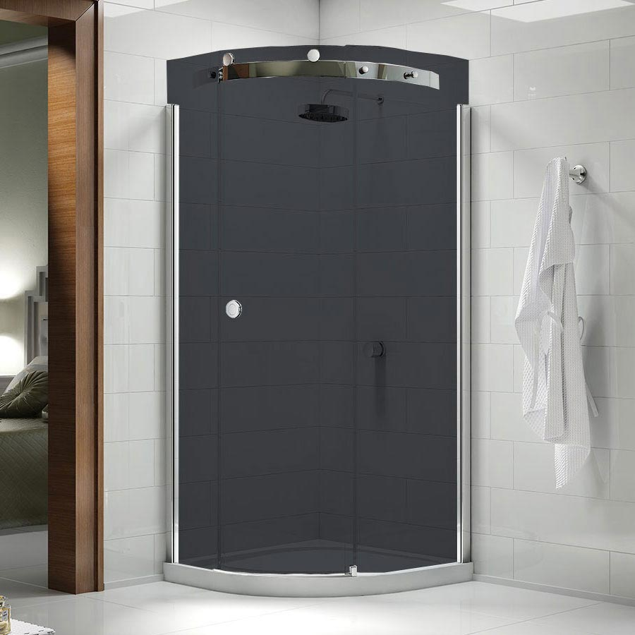 Merlyn 10 Series Smoked Black Glass 1 Door Quadrant Enclosure - (900 x 900mm - Right Hand) Large Ima
