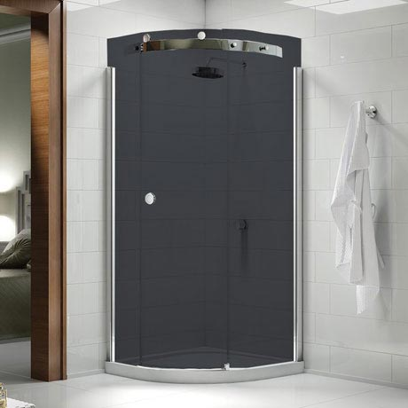 Merlyn 10 Series Smoked Black Glass 1 Door Quadrant Enclosure - (900 x 900mm - Right Hand)