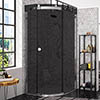 Merlyn 10 Series 900 x 900mm RH Smoked Black Glass 1 Door Quadrant Enclosure profile small image view 1