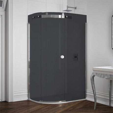 Merlyn 10 Series Smoked Black Glass 1 Door Offset Quadrant Enclosure - (1200 x 900mm - Left Hand)