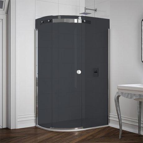 Merlyn 10 Series Smoked Black Glass 1 Door Offset Quadrant Enclosure - (1200 x 900mm - Left Hand)