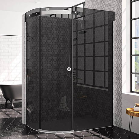 Merlyn 10 Series 1200 x 900mm LH Smoked Black Glass 1 Door Offset Quadrant Enclosure