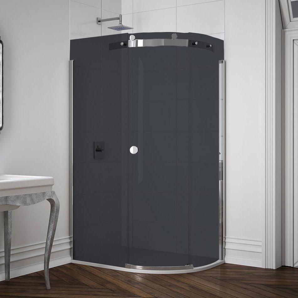 Merlyn 10 Series Smoked Black Glass 1 Door Offset Quadrant Enclosure - (1200 x 900mm - Right Hand) L