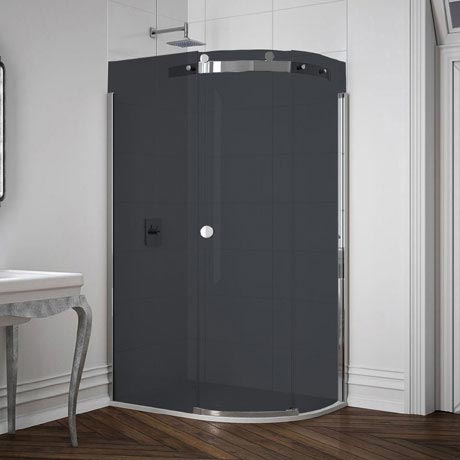 Merlyn 10 Series Smoked Black Glass 1 Door Offset Quadrant Enclosure - (1200 x 900mm - Right Hand)