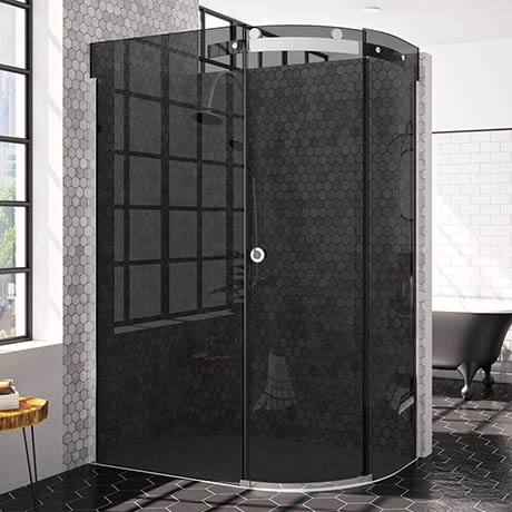 Merlyn 10 Series 1200 x 900mm RH Smoked Black Glass 1 Door Offset Quadrant Enclosure