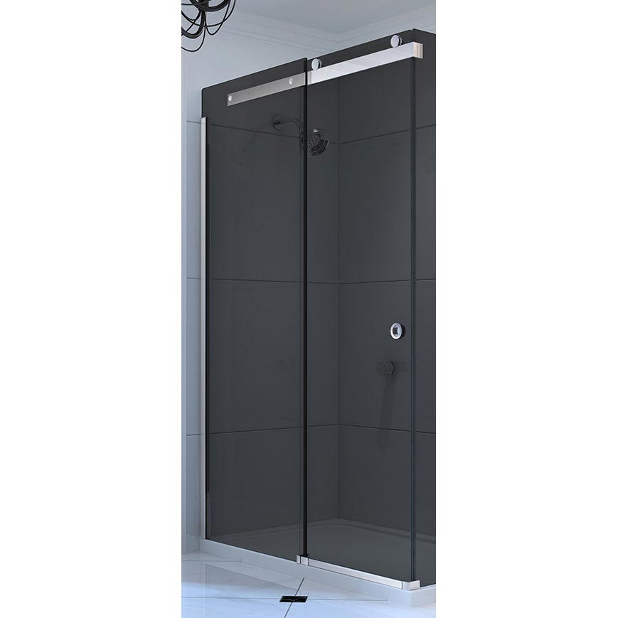 Merlyn 10 Series Smoked Black Glass Sliding Door - Left Hand Large Image