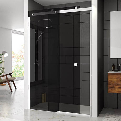 Merlyn LH 10 Series Smoked Black Glass Sliding Door