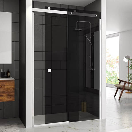 Merlyn RH 10 Series Smoked Black Glass Sliding Door
