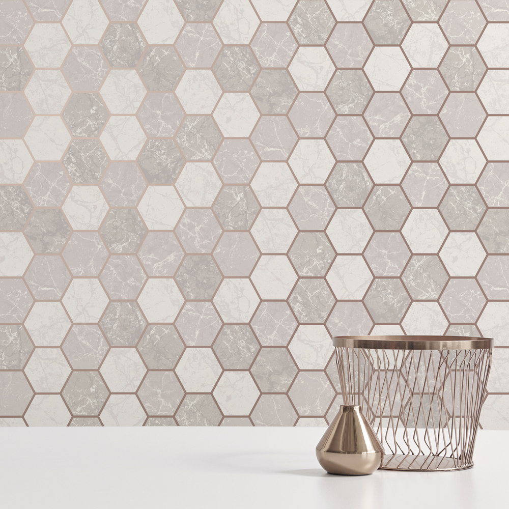 Fine Decor Metro Hex Multi Rose Gold Wallpaper - M1507