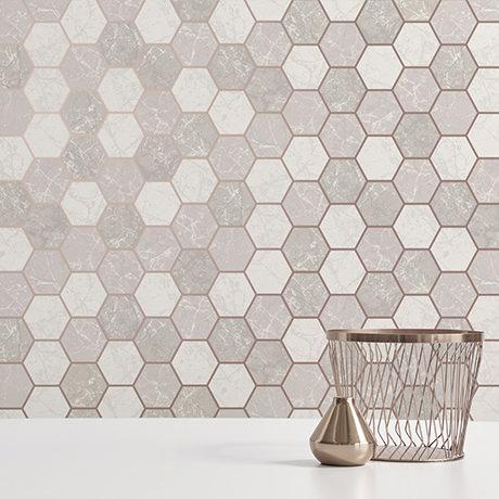 Fine Decor Metro Hex Multi Rose Gold Wallpaper - M1507