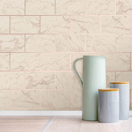 Fine Decor Metro Brick Marble Rose Gold Wallpaper - M1510