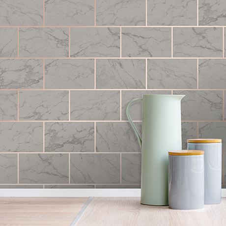 Fine Decor Metro Brick Marble Charcoal Wallpaper - M1511