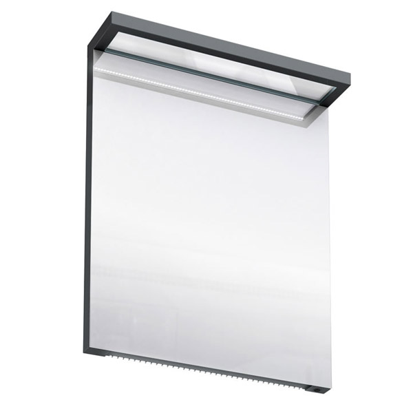 Aqua Cabinets - 600mm Wide Illuminated LED Mirror - Black - M20B