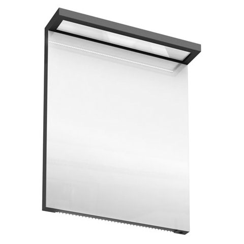 Aqua Cabinets - 600mm Wide Illuminated LED Mirror - Anthracite Grey - M20G profile large image view 1