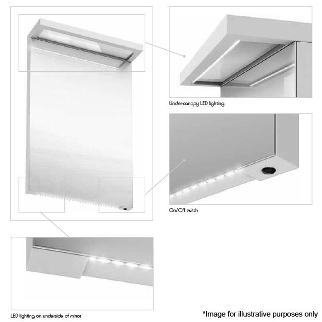 Aqua Cabinets - 900mm Wide Illuminated LED Mirror - White - M30W Profile Large Image